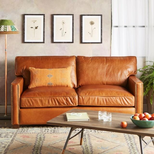 Hakiki Deri Taba Renk Koltuk Takımı Modern Kanepe Oturma Odası