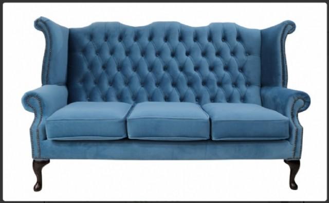 Amerikan Kanepe Üçlü Modeli Mavi Renk Gerçek Deri