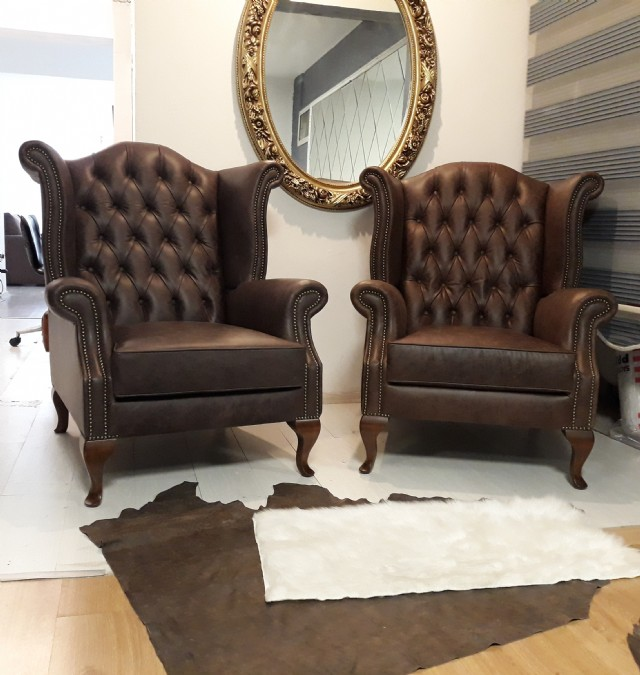 Chesterfield Sofa Models, Gerçek Deri Chester Berjer