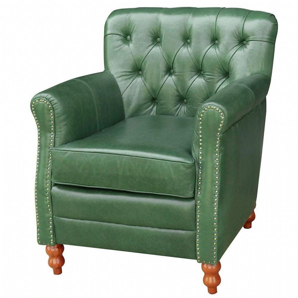 Kodu: 12869 - Dekoratif Deri Berjer Vıntage Model Yeşil Renk Deri