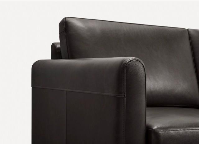 Dört Kişilik Gerçek Deri Kanepe Lüks Modeli Siyah Rengi