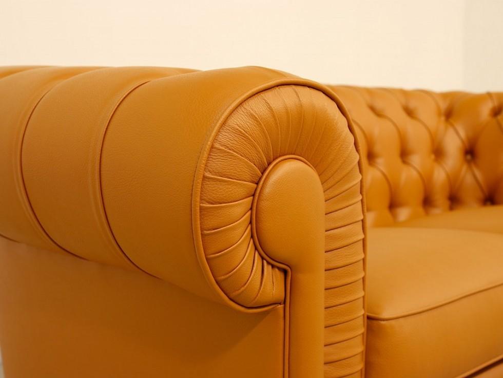 Kodu: 12198 - Gerçek Deri Chesterfield Kanepe Bal Sarı Renk Şık Tasarım