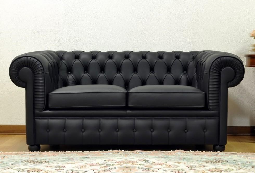 Kodu: 12178 - Gerçek Deri Chesterfield Kanepe Siyah Renk Şık Tasarım