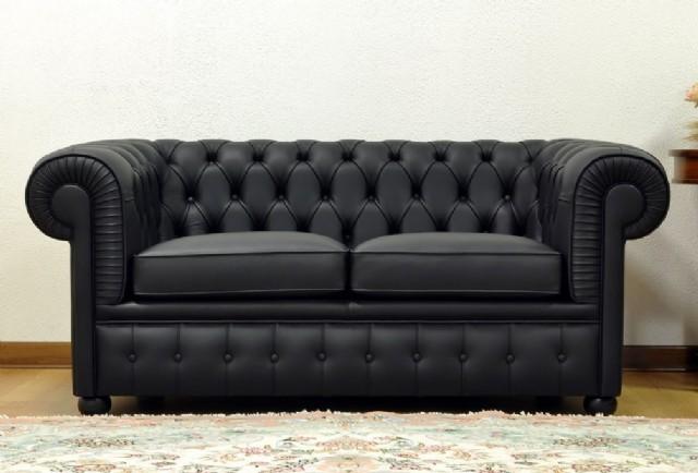 Gerçek Deri Chesterfield Kanepe Siyah Renk Şık Tasarım