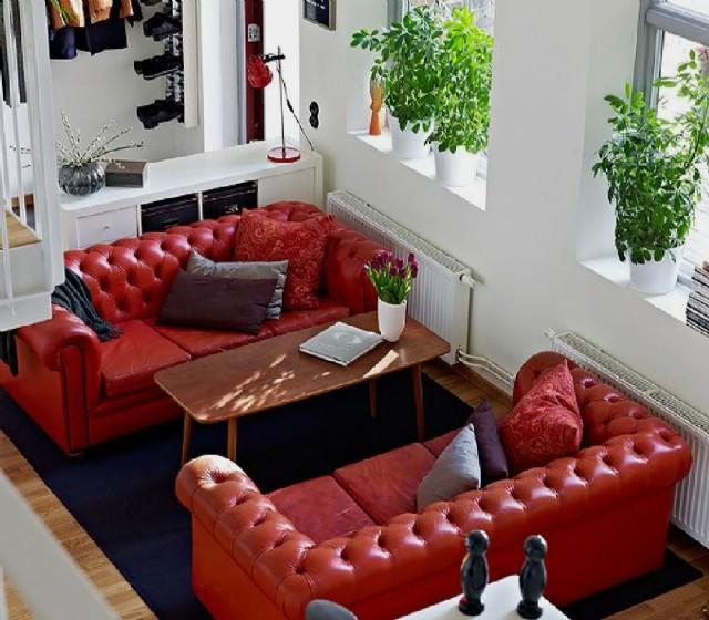 Kırmızı Deri Chester Koltuk Modelleri Gerçek Deri Koltuk