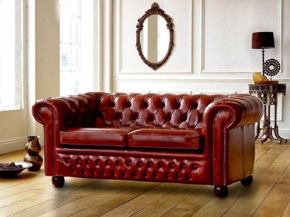 Kodu: 9322 - Kırmızı Gerçek Deri Chester Koltuk Modelleri