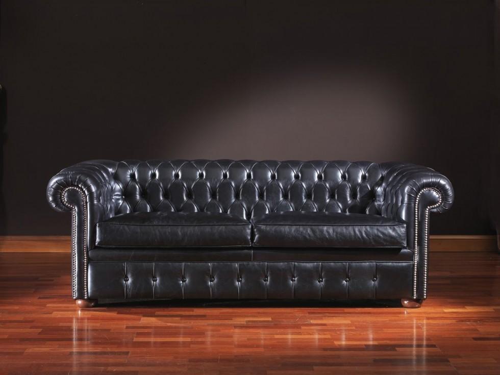Kodu: 8841 - Lacivert Deri Chester Koltuk Modelleri