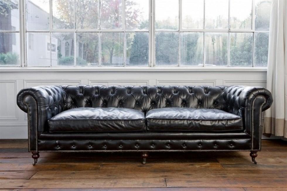 Kodu: 9388 - Leather Sofa Models Chester Siyah Deri Kanepe