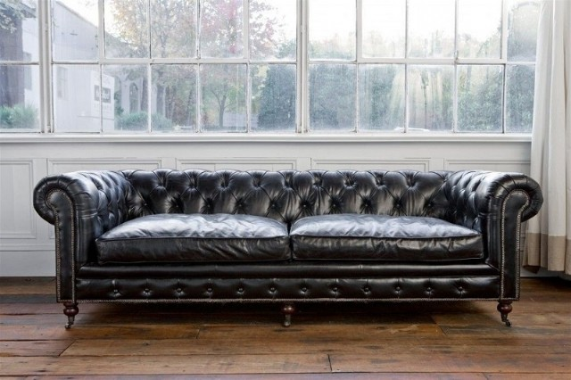 Leather Sofa Models Chester Siyah Deri Kanepe