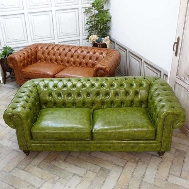 Leather Sofa Models, Yeşil Gerçek Deri Chester