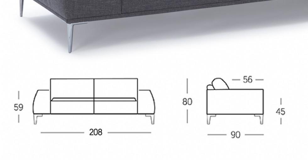 Kodu: 16092 - Modern Üçlü Koltuk Gerçek Deri Kanepe Model Teknik Ölçüleri
