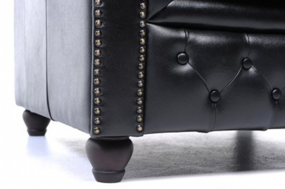 Kodu: 13641 - Orijinal Beş Kişilik Chesterfield Deri Kanepe Siyah Renk
