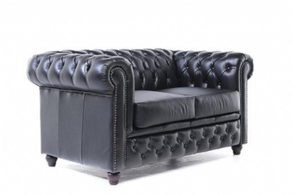 Kodu: 13636 - Orijinal İki Kişilik Chesterfield Deri Kanepe Siyah Renk