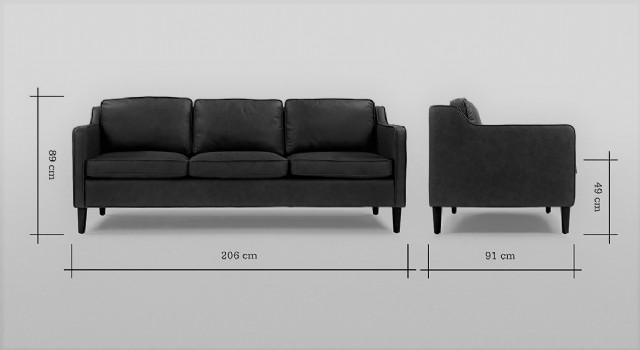 Üç Kişilik Kanepe Modeli Siyah Renk Deri