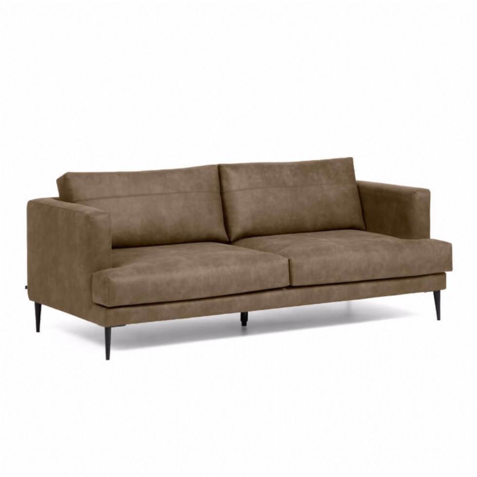 Kodu: 14219 - Üçlü Deri Koltuk Modeli Modern Kanepe Kahverengi Renk Deri