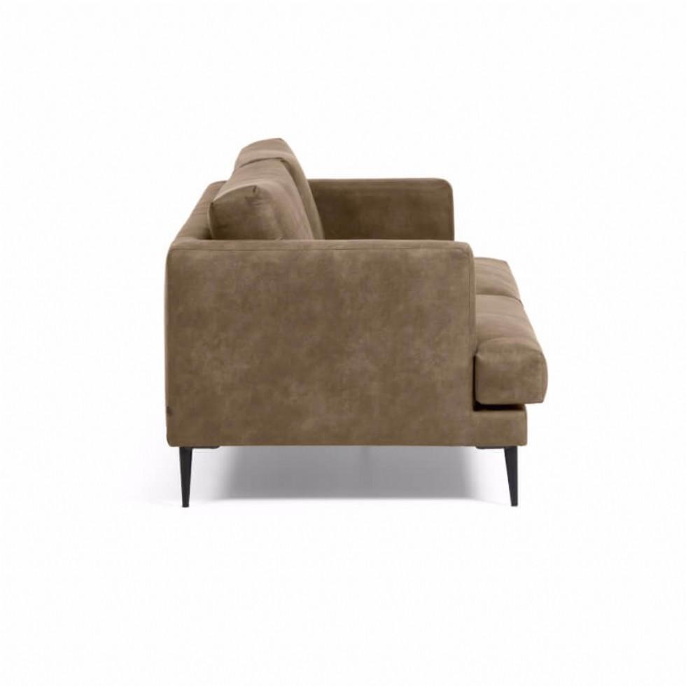 Kodu: 14220 - Üçlü Deri Koltuk Modeli Modern Kanepe Kahverengi Renk Deri