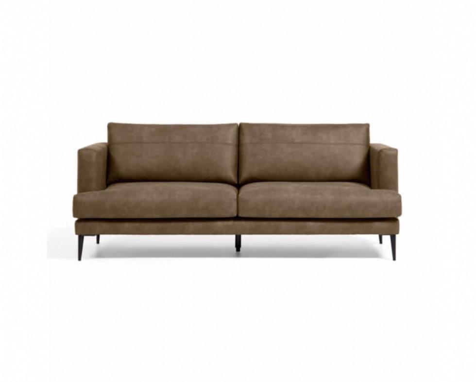 Kodu: 14222 - Üçlü Deri Koltuk Modeli Modern Kanepe Kahverengi Renk Deri