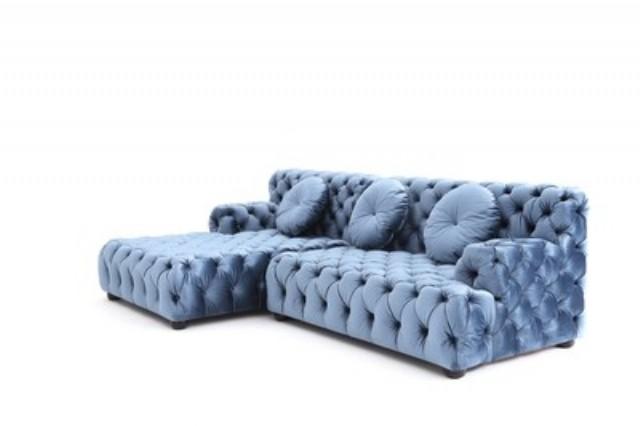 Vıntage Chesterfield Köşe Koltuk Özel Tasarım Mavi Renk