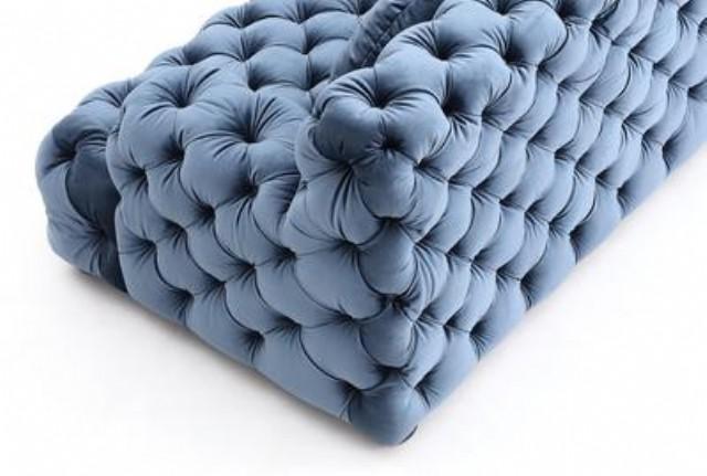 Vıntage Chesterfield Köşe Özel Tasarım Mavi Renk