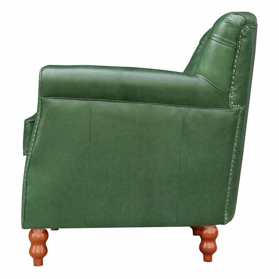 Kodu: 12870 - Yeşil Renk Dekoratif Deri Berjer Vıntage Modeli