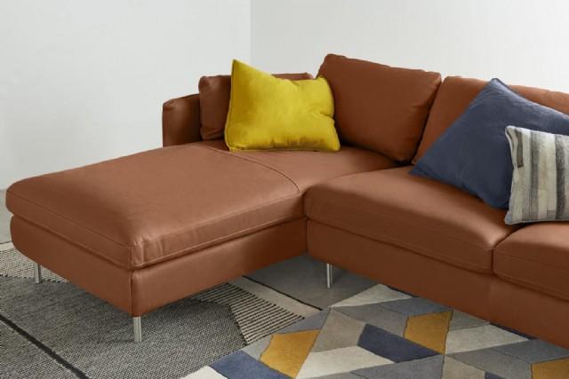 Kahverengi Köşe Koltuk Deri L Şeklinde Köşe Kanepe Modeli