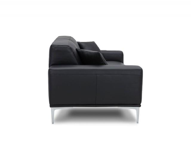 Modern Üçlü Koltuk Gerçek Deri Kanepe Sabit Oturum Modeli Siyah Renk