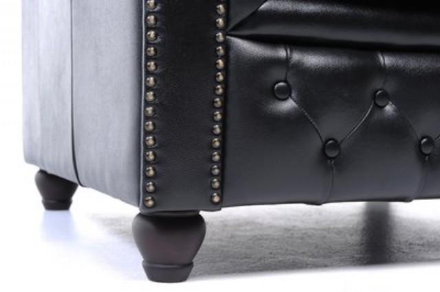 Orijinal Beş Kişilik Chesterfield Deri Kanepe Siyah Renk