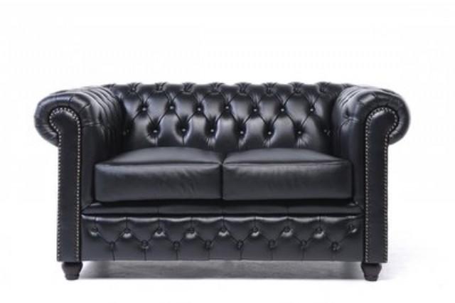 Orijinal İki Kişilik Chesterfield Deri Kanepe Siyah Renk