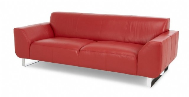 Sabit Oturum Modern Deri Kanepe Kırmızı Renk
