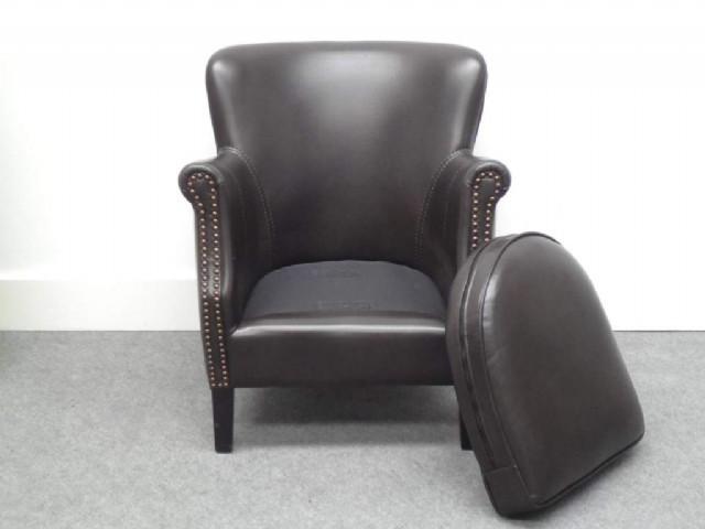 Vıntage Berjer Modeli Siyah Renk Deri Döşemeli