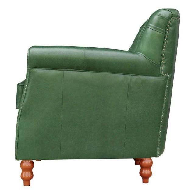 Yeşil Renk Dekoratif Deri Berjer Vıntage Modeli