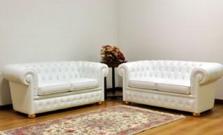 Chesterfield Koltuk Takımlar Gerçek Deri Kanepe Modeller Beyaz Renk