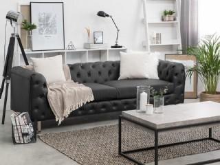 Modern Dikişli Deri Koltuk Üç Kişilik Kanepe Modeli Siyah Renk