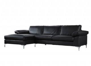 Modern Köşe Takım L Kanepe Modeli Siyah Renk Deri